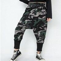 Cotton Fashion Camouflage Harem Pants Womens Jogger Pants Pantalon Tactical Trouser Elastic Waist Plus size Camo Streetwear M L