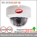 Cámara ip de hikvision original inglés ds-2cd2132f-is 3mp cámara domo ip poe cámaras de audio apoyo actualiza reemplazar ds-2cd2135f-is