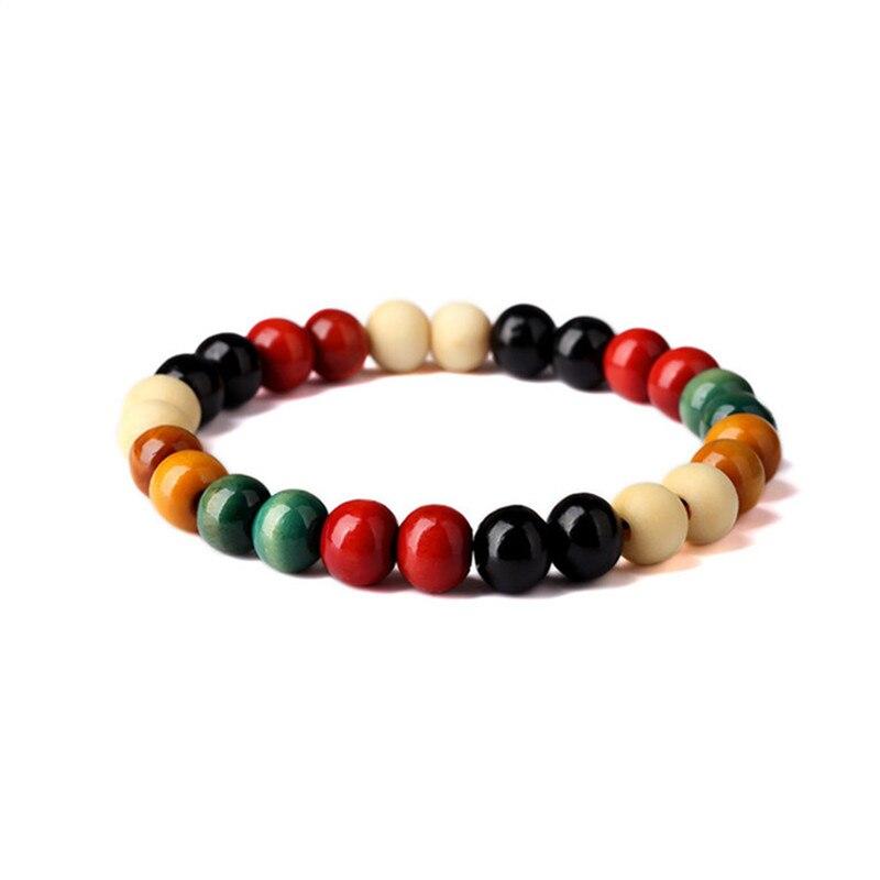 MKENDN Multi Color Tibetan Sandalwood Buddhist Bracelets