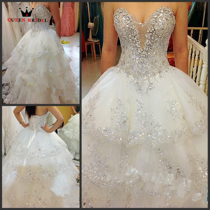 Luxurious Wedding Dresses Ball Gown Sweetheart Fluffy Lace Beaded Crystal Diamond Big Train Bridal Gowns 100