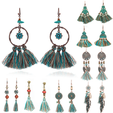 Купить с кэшбэком Variety of bohemian ethnic green tassel earring Boho vintage long fringed earrings for women Fashion charm party jewelry 2019