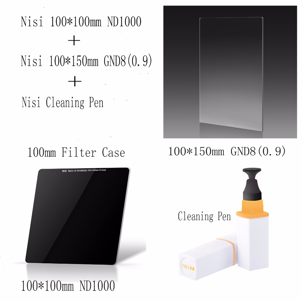 NISI 100*150mm Soft nano GND(8)0.9 Filter +100*100mm ND1000 Filter Optical Glass Filters+cleaning pen kit dhl free shipping nisi 70 70mm square filter soft gnd8 0 9 filters gradient gray filter optical glass double sided coating