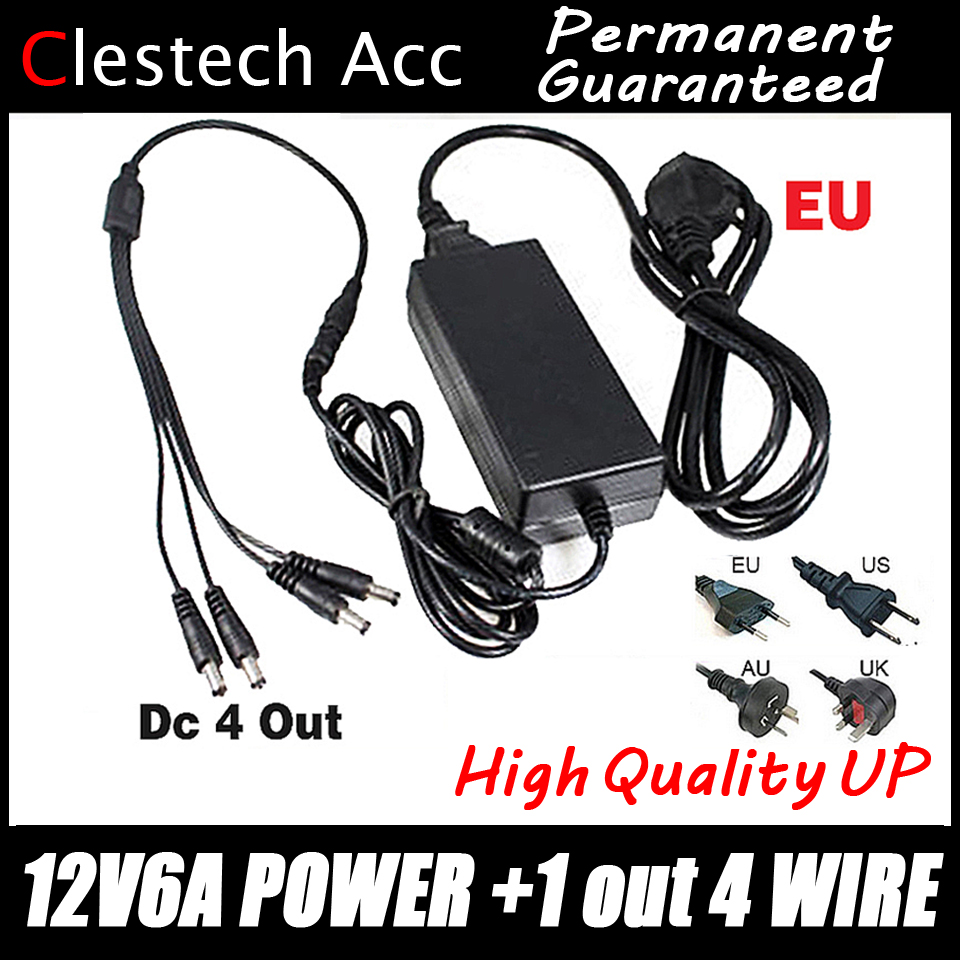 2017sale!12V6A power adapter 4 out AC/DC Adaptor 100V-240V Converter Adapter Power Supply EU/US/UK Plug to 4 Male Power Splitte