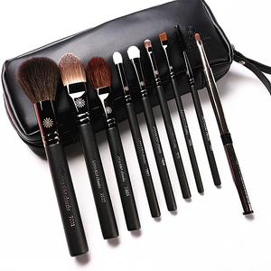 Image 5 - Korean Fashion 9Pcs Goat Hair Makeup Brushes with Leather Case Professional Eyebrow Lip Nose Eyelash Make up Brush Kit Gift