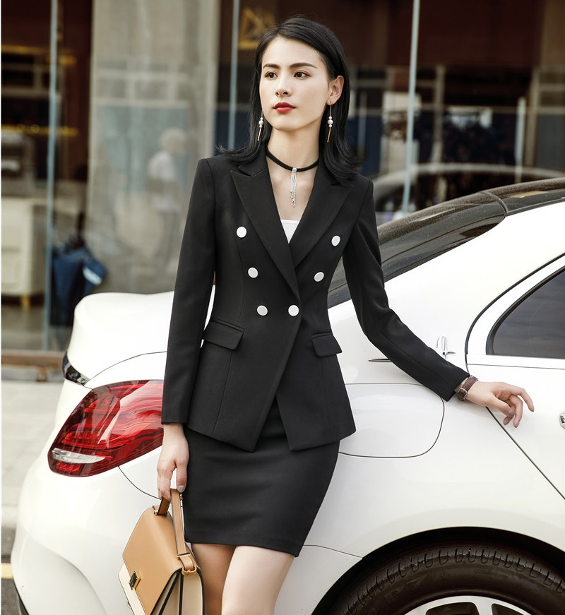 297c60dc9c Formal Two Piece Sets With Jackets Coat and Skirt For Women Business  Professional Blazers For Ladies Office Work Wear Sets Blue-in Skirt Suits  from Women's ...