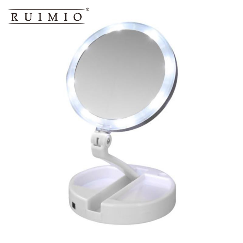 Mirrors 2018 Usb Led Adjustable Makeup Mirror Double-sided Rotation Folding Lighted Vanity Mirror Touch Screen Portable Tabletop Lamp