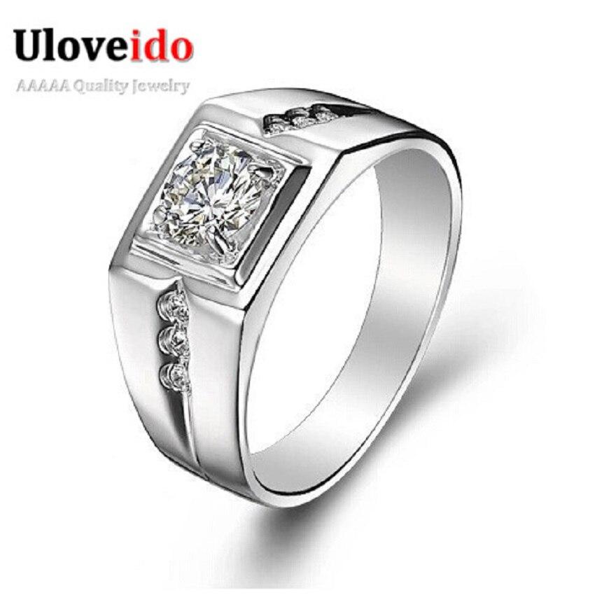 f4493660477f1 15% قبالة الأزياء 2017 Brincos الفضة خواتم للنساء الرجال Aneis مجوهرات  الزفاف خاتم الخطوبة Anillos الجملة Uloveido J473N