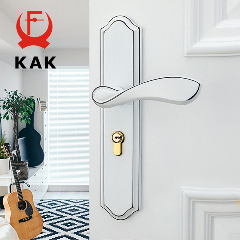 KAK Fashion Mute Room Door Lock Zinc Alloy Interior Door Lock Handles European style Anti-theft Gate Lock Furniture Hardware цена