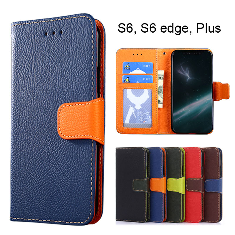 Wallet case for Samsung Galaxy S6 Litchi Pattern PU leather with soft TPU cover coque Hit color style S6 edge Plus
