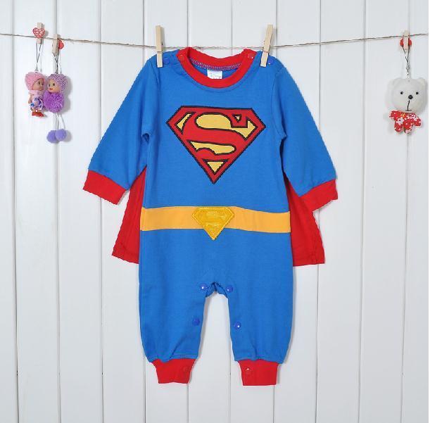 1 conjunto de Manga Longa Menino Romper Superman com Vestido Blusa Infantil Romper Costume Bebê one-piece macacão de banda desenhada outfit