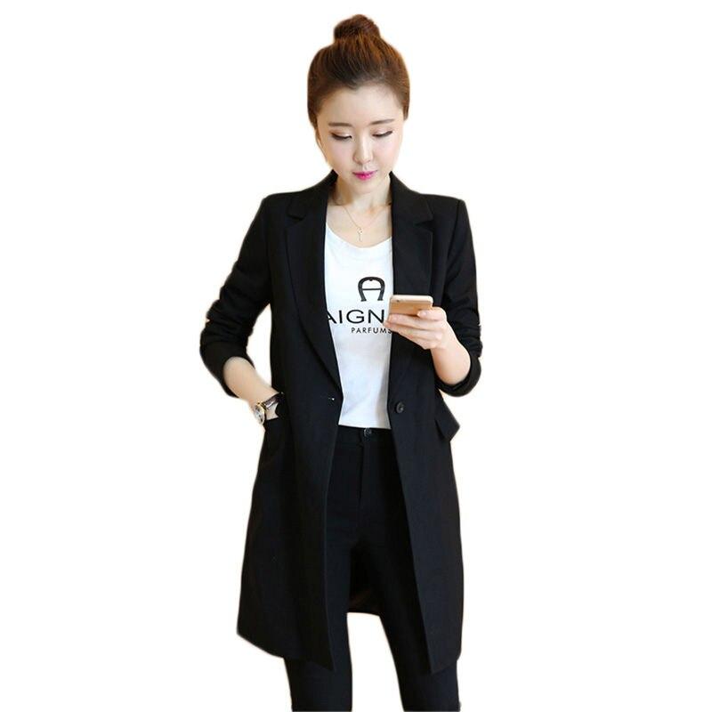 Korean Black Blazer Mujer Moda 2019 New Spring Autumn Lapel  Work OL Suit Blazer Long Sleeve Mujer Blazer Femme Outerwears F189