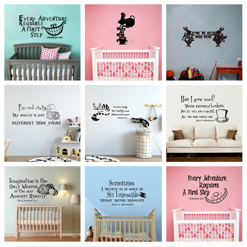 2019 New Alice In Wonderland Cartoon Home Art Decor Quote Vinyl Wall Stickers For Kids Rooms Nursery Mural Poster C158