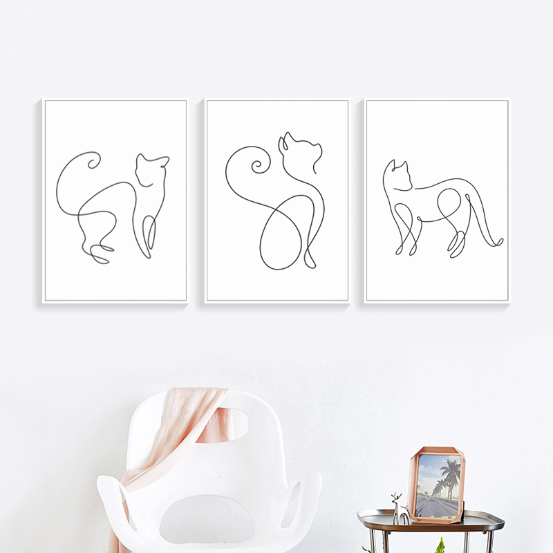 07G Minimalism Abstract Line Curve Cat Animal Canvas Art Painting Poster Picture Wall Living Room Bedroom Home Decoration Mural 15