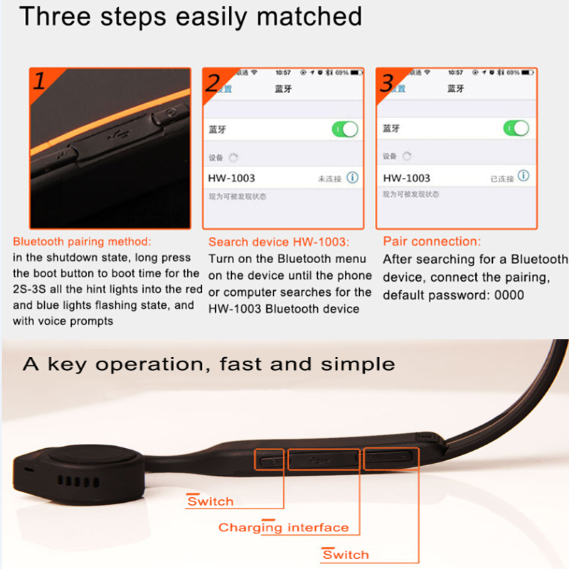 Bone Conduction Stereo Wireless Bluetooth Headphones waterproof sports Hifi headsets with microphone Support Hands Free Call  (9)