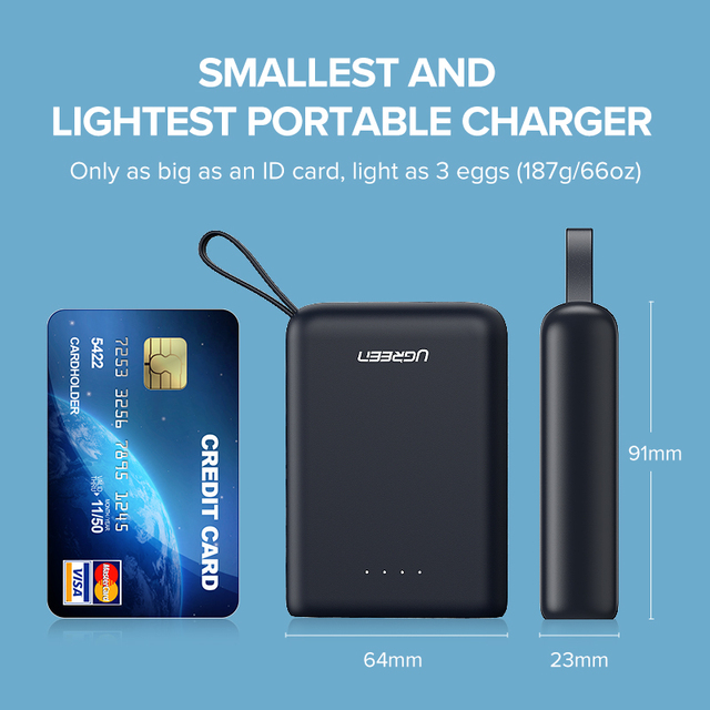 Ugreen Mini Power Bank 10000mAh Ultra Slim PoverBank for Samsung S9 S8 Dual USB Powerbank External Battery Pack Portable Charger 4