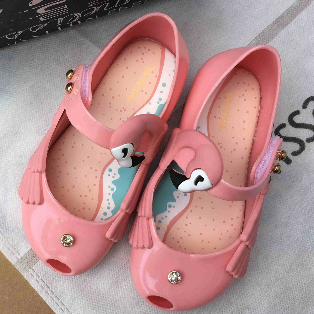 summer kids shoes mini melissa Ultragirl Jelly Sandals cartoon Flamingos Sapato causal shoes soft 13-18cm Children Shoes Girls