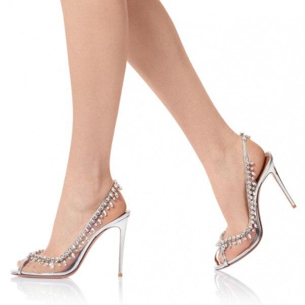 Toe Superficial Marfil Decoración Peep Sexy Moda Sandalias Nueva Zapatos Pvc De Tassal Elegante Compras Gladiador Bling Claro Diamante wqYpHHzA
