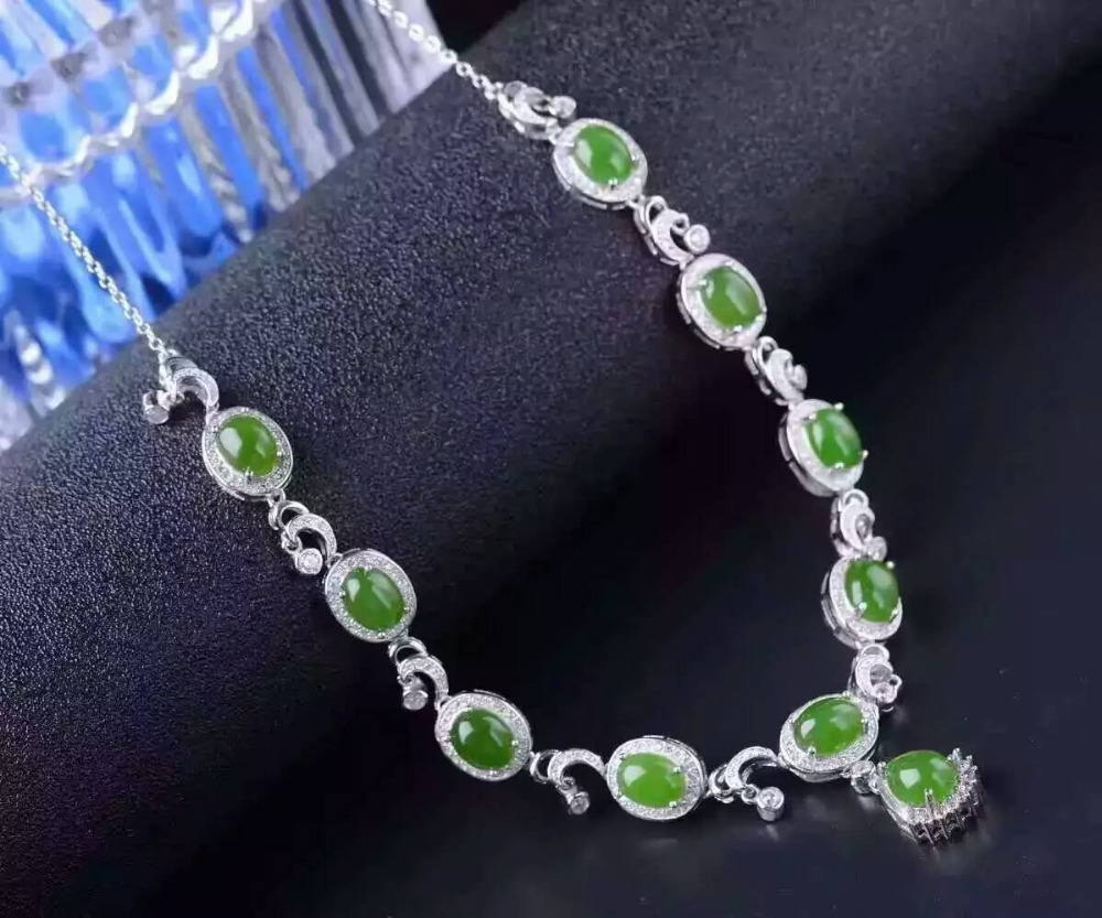SHILOVEM 925 sterling silver Natural green Jasper pendants ...  |Green Jasper Jewelry