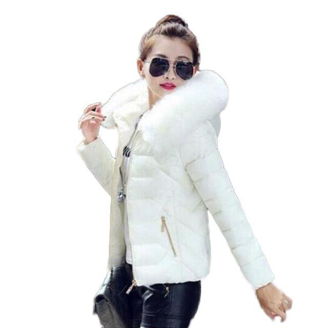 2016 Новые Парки Для Женщин Зимние Пальто Из Искусственного Меха Воротник с капюшоном Вниз Хлопок Тонкий Теплая Куртка Женская Зимние Куртки И пальто
