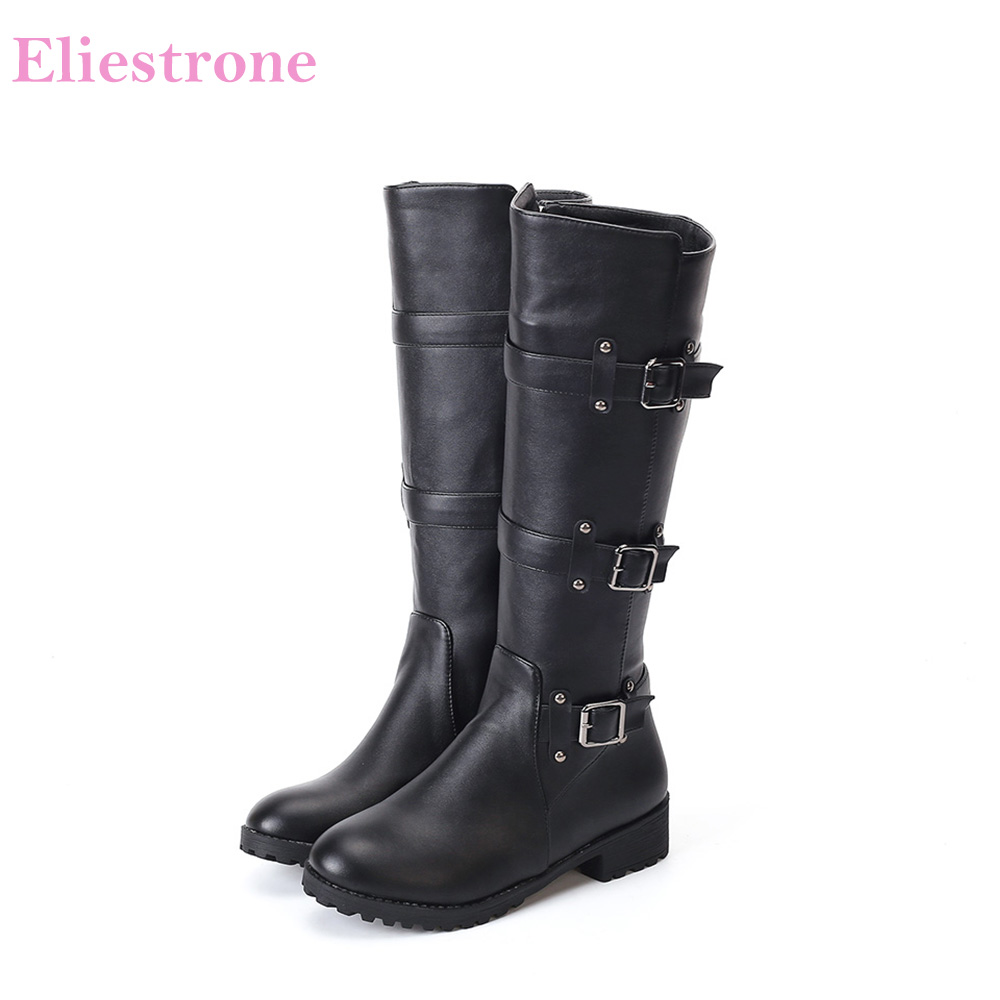 Brand New Winter Sexy White Black Knee High Women Motorcycle Boots Chunky Heels Lady Shoes Sl281 Plus Big Size 11 33 43 46-In Knee-High Boots From -2156