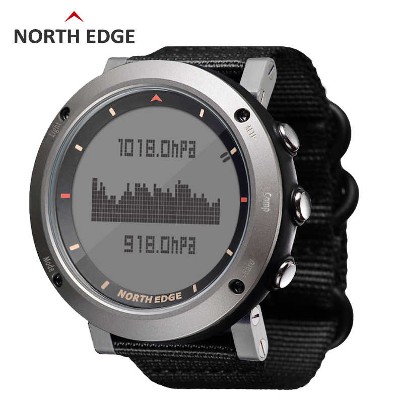 NORTH EDGE Men Sport Watch Altimeter Barometer Compass Thermometer 3D Step Pedometer Nylon Band Watches Digital Running Climbing