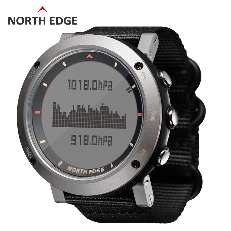 NORTH EDGE Men Sport Watch Altimeter Barometer Compass Thermometer 3D Step Pedometer Nylon Band Watches Digital Running Climbing north edge men sports watch altimeter barometer compass thermometer pedometer calories watches digital running climbing watch