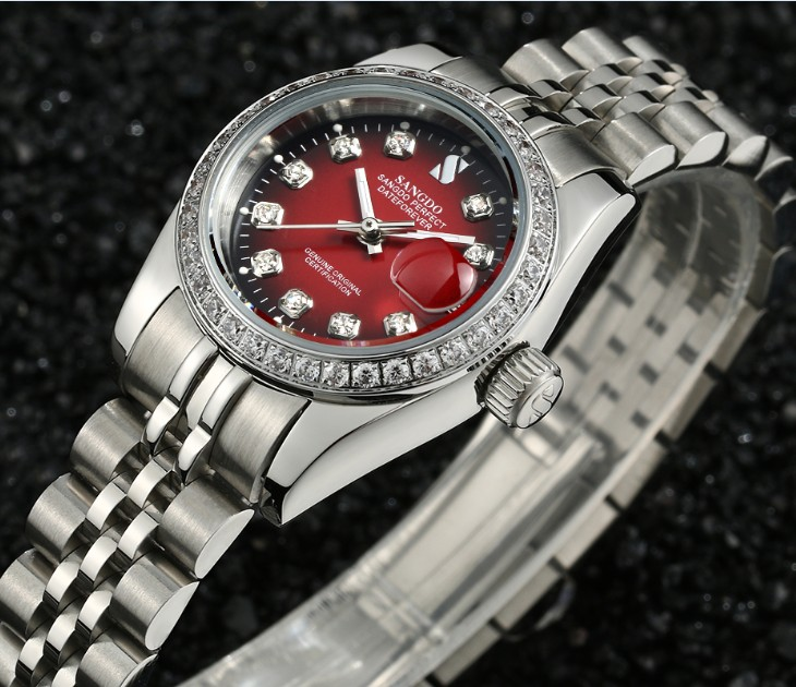 28MM SANGDO Black- red dial Automatic Self-Wind movement High quality Luxury Women