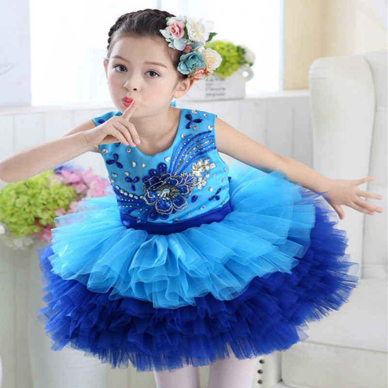 International Children's Day Princess puff cake dress girl costumes dance ballet sequins performance dresses for stage 100-180c princess poppy ballet shoes