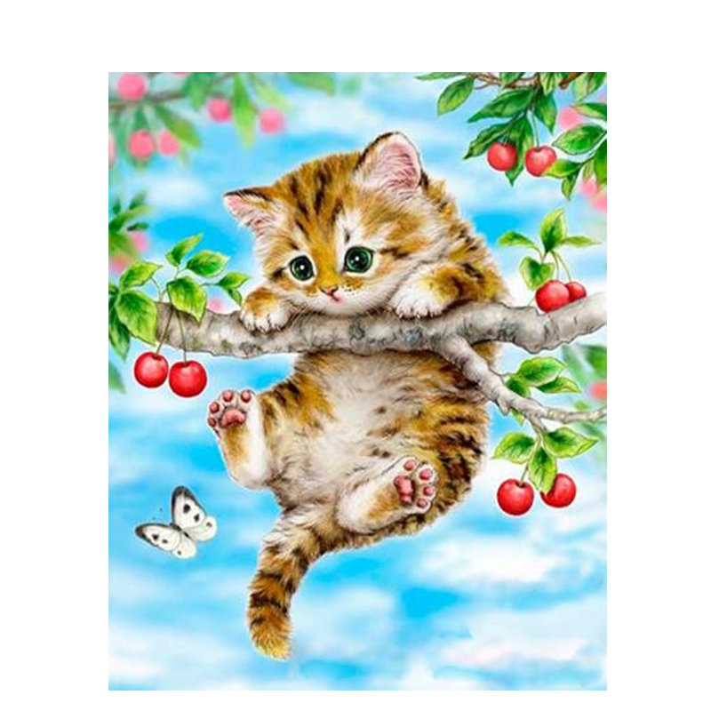 Trend Product  Painting By Numbers DIY Dropshipping 40x50 50x65cm Cat hanging on the tree Animal Canvas Wedding De