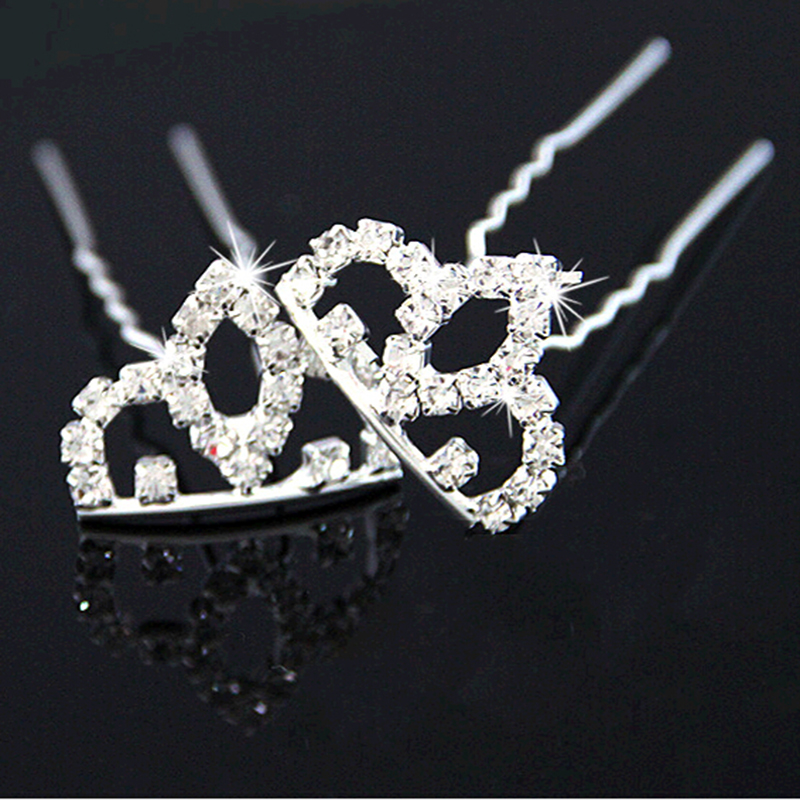Hollow Crown Full Shiny Crystal Double Legs Hairpins Princess Hair Sticks Headwear for Kids Women