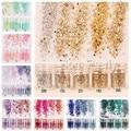 1 Caja de 10 ml Mixta Nail Art Glitter Powder Champagne Lentejuelas de Colores Super Maquillaje Glitter Polvo de Uñas de Manicura Del Arte 32 colores