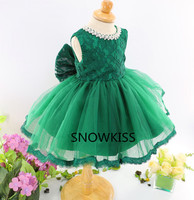 Elegant green lace flower girl dresses knee length with bow peals toddler ball gown pageant frocks infant birthday party dress