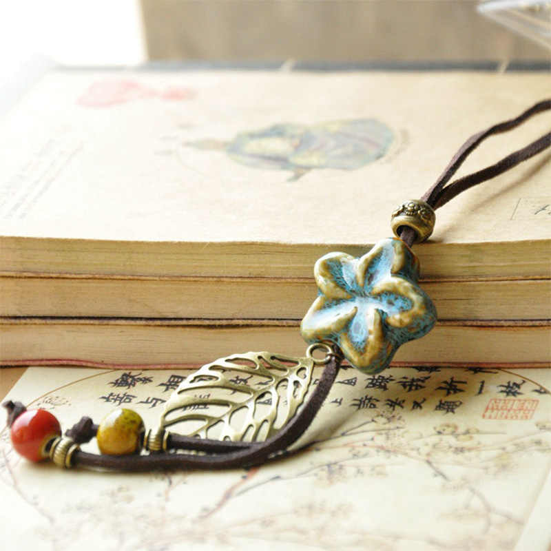 Star Necklaces Ceramic Beads Hollow Leaf Flower Pendants Statement Charm Leather Rope Choker  PU Cord Chain Women Jewelry
