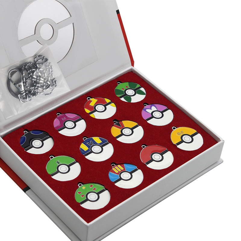 12pcsset Pokemon Super Master PokeBall Keychain Pendant Juguetes with Exquisite Box Christmas Gifts (6)