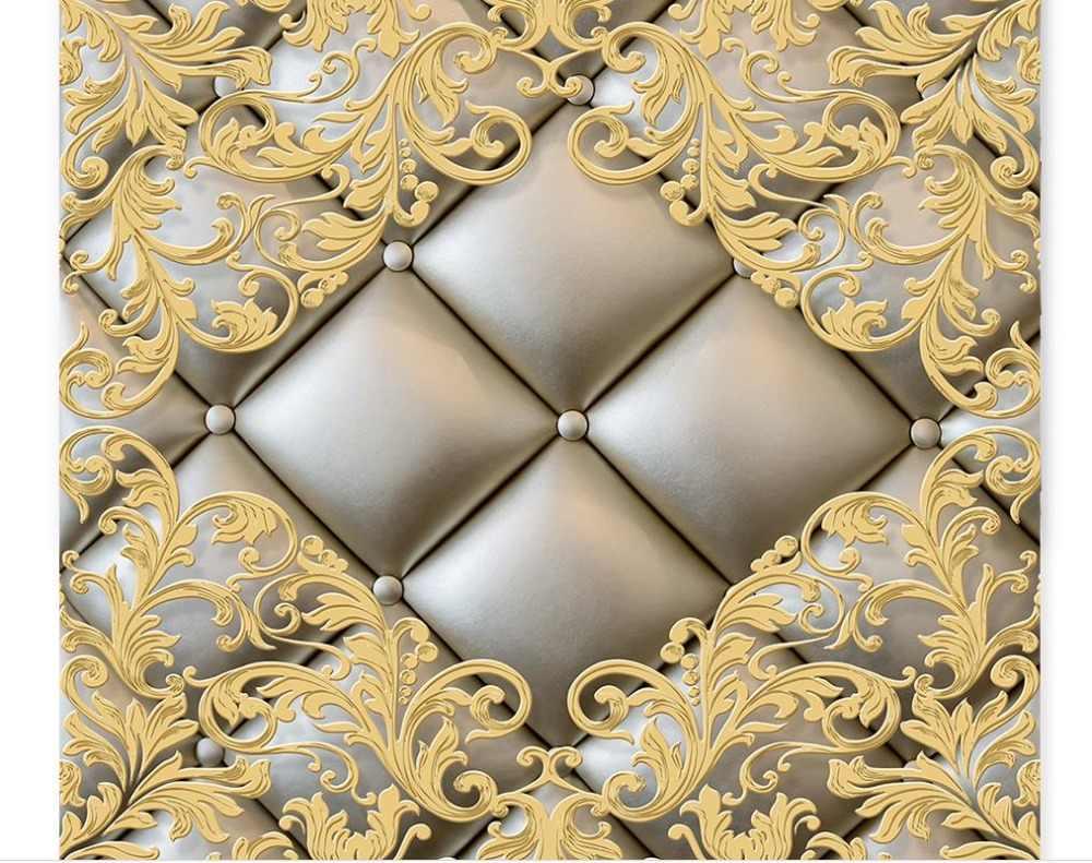 Европейский люкс 3D потолочные обои рельефным узором стерео обои для стен 3 D Потолочный диван Задний план обои