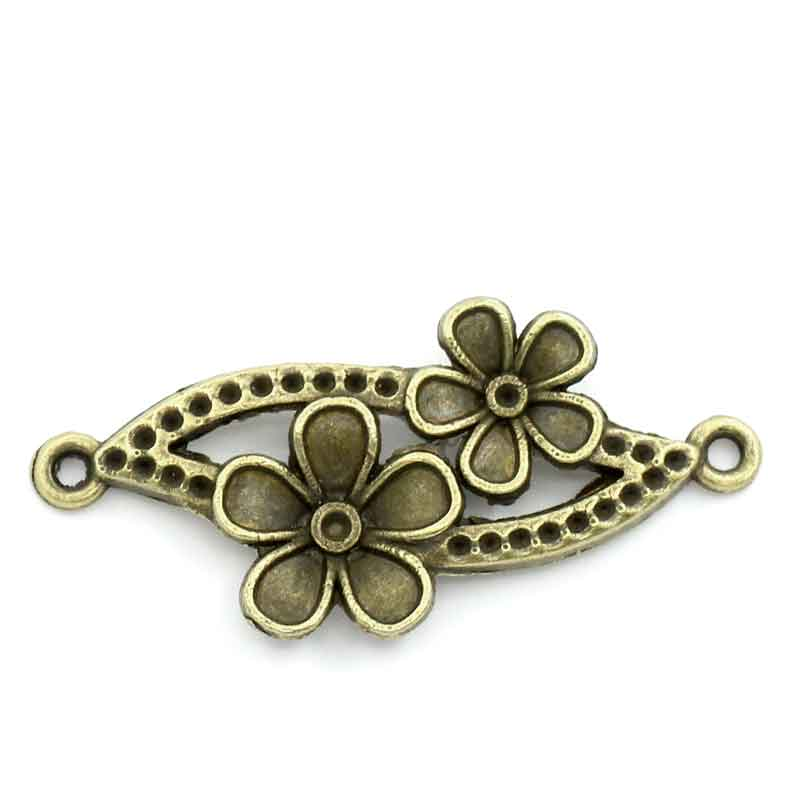 DoreenBeads Connectors Findings Flower Vine Antique Bronze FlowerInlaid Faceteds(Hold Ss1 Rhinestone)3.7cmx15mm,5 PCs