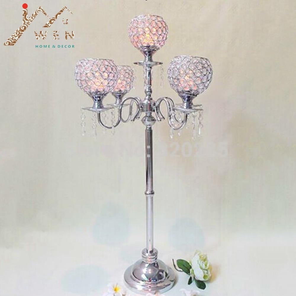 1 lot/10 pièces nouveauté 90 cm hauteur à 5 bras candélabres en métal avec pendentifs en cristal, argent brillant finition bougeoir de mariage
