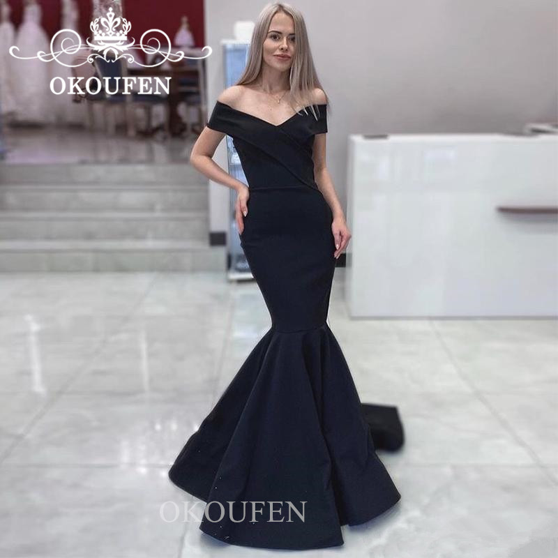 Black Off Shoulder   Bridesmaid     Dresses   For Women 2019 Under 100 Cheap Lace Up Back Long Prom   Dress   Party Gown Vestido Madrinha