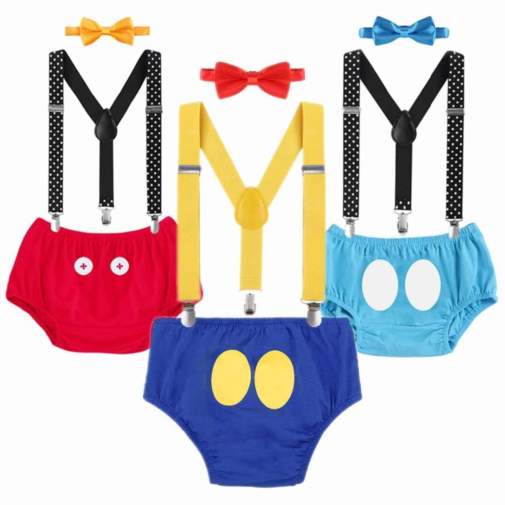 55b81e5ee 3pcs Set Baby Boys 1st Birthday Cake Smash Outfit Suspenders Pants Shorts  Bow Tie Photo Prop