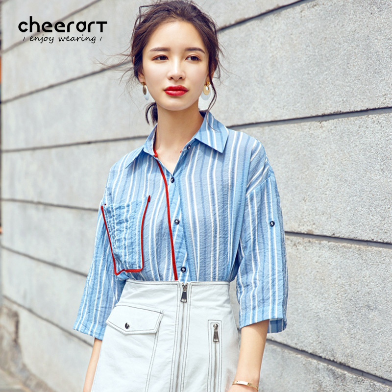 Cheerart 2017 Vintage Blue Striped Blouses Short Sleeve