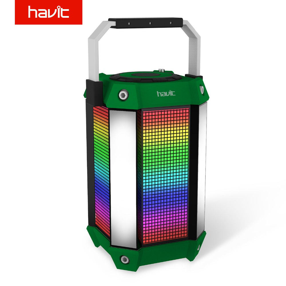 Havit luces led portátil bluetooth altavoz con cable/inalámbrico subwoofer banco
