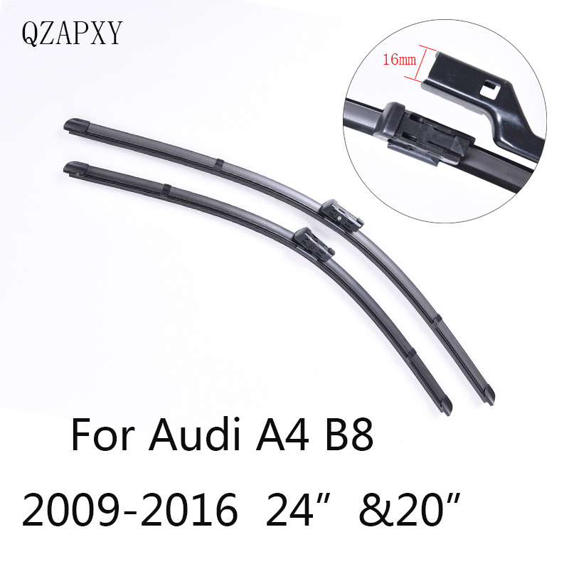 цена на QZAPXY Wiper Blades for Audi A4 B8 24&202009 2010 2011 2012 2013 2014 2015 2016 Car Front Windshield Wiper blades