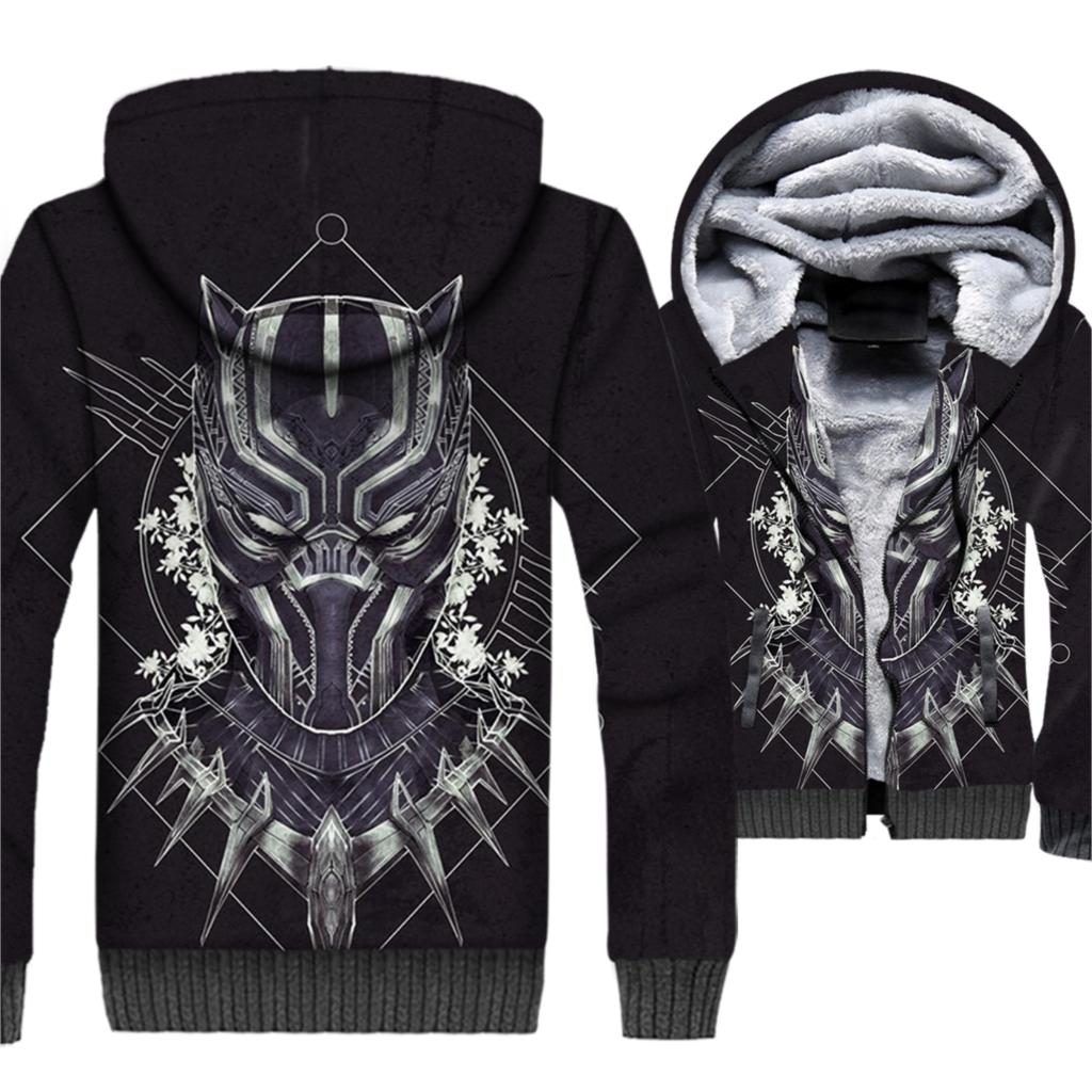 Super Hero Black Panther 3D Hoodies 2019 Winter Warm Sweatshirts For Men Casual Loose Fit Jackets Men's Harajuku Outwear Hooded