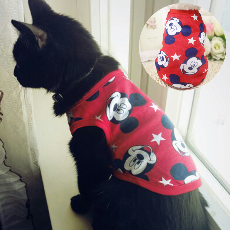 New Spring Summer Cat Clothes Cute Cartoon Costumes Clothing For Small Pet Dogs Cotton Cat Kitty Kitten Vest Shirt Puppy T Shirt