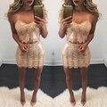 2017 Sexy V Шеи из двух Частей Набор Bodycon Блестками Dress Полые из Спинки Плотный Пакет Бедра Партии Dress С Плеча Mini Dress