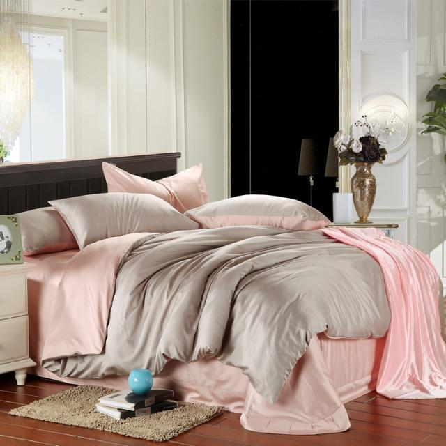 Pink And Grey Duvet Cover Bedding Set King Size Queen Full