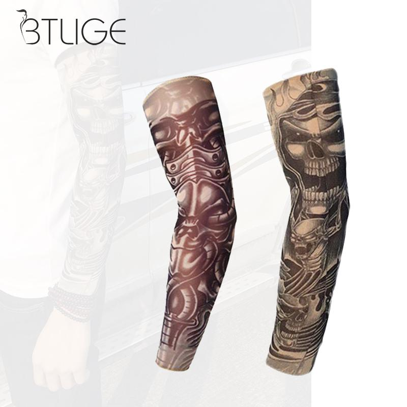 Cool Outdoor Sports Tattoo Sleeve Uv Sun Protection For Summer Print Arm Sleeves Compression Bike Bicycle Elastic Arm Warmer