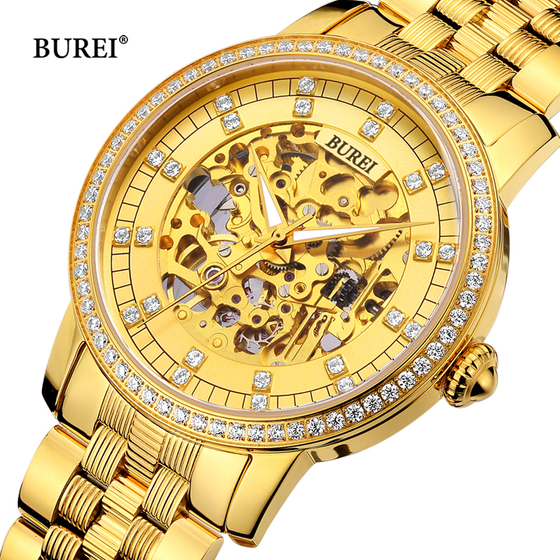 BUREI Men Women Mechanical Watches Gold Luxury Sapphire Crystal Business Automatic Wrist Watch Saat Relogio Masculino Feminino adjustable wrist and forearm splint external fixed support wrist brace fixing orthosisfit for men and women