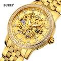 BUREI hombres mujeres relojes mecánicos oro cristal de zafiro de lujo negocios automático reloj Saat Relogio Masculino Feminino