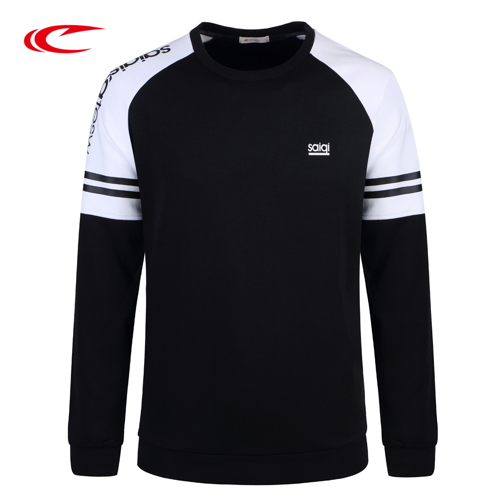 SAIQI Patchwork Training Sweatshirt Men Long Sleeve Sport Sweaters Exercise Shirt Cotton Running Walking Football Sport Sweater